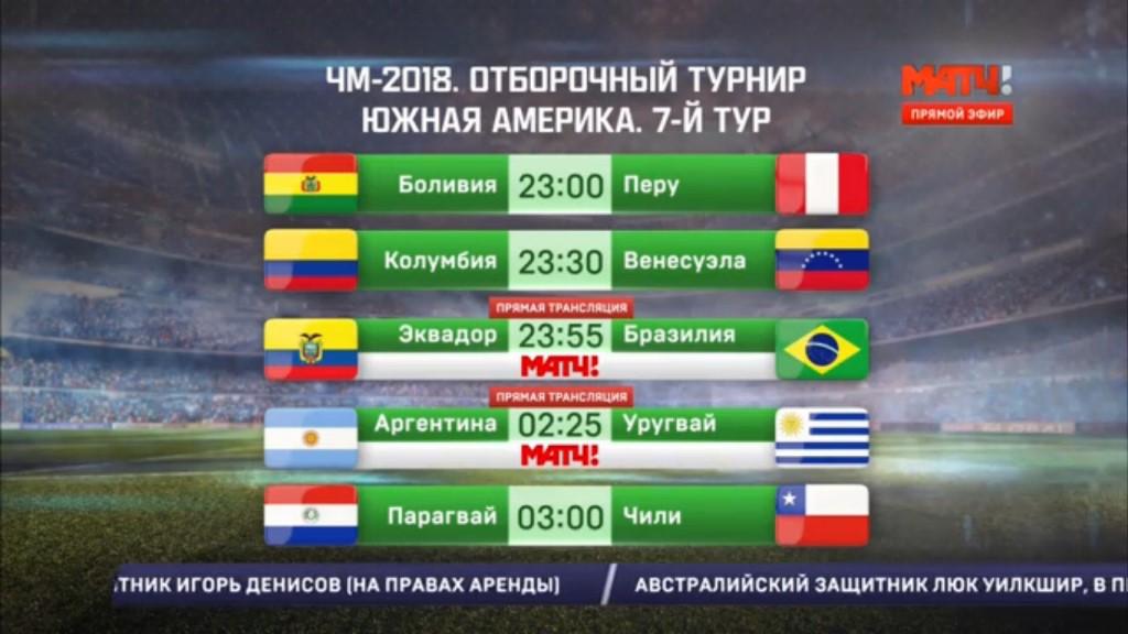 Отборочные матчи чемпионата мира 2018 по футболу расписание матчей америка