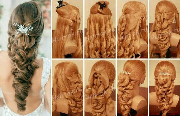 Вечерние прически с косами, расположенными по краю волос отлично дополняют праздничный облик.