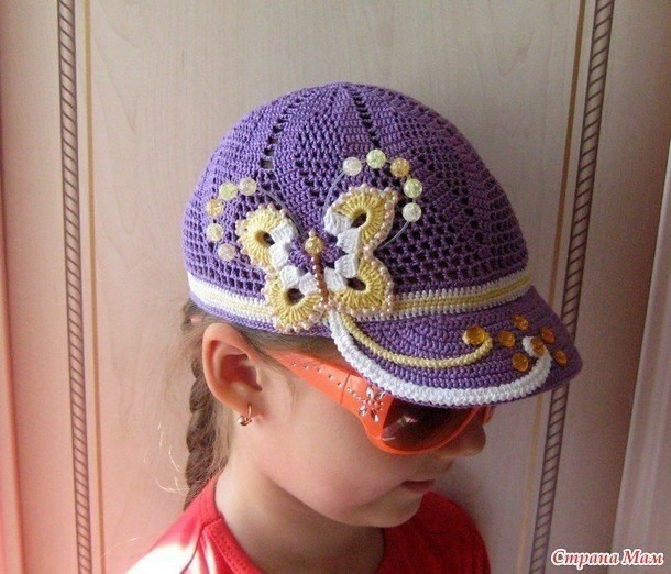 Вязание крючком бейсболки для девочек
