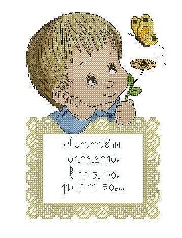 Вышивка детской метрики, в которую входит любая картинка, имя, рост, вес, дата рождения, знак зодиака (по вашему желанию) Отлично подойдет как подарок.Картинок много, вопросы в л.с.
