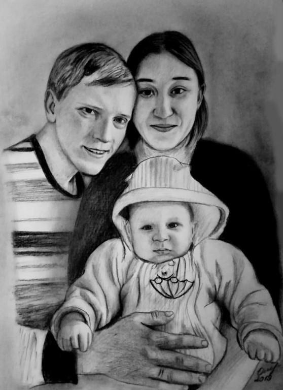 Великолепный портрет с фотографии от художника для Ваших близких!